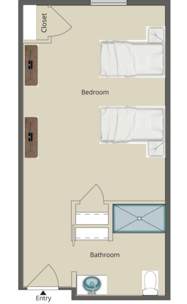 401 Square Foot Companion Suite Memory Care Unit With Spacious Living Area, Closets And Bathroom With Linen Closet And Shower.