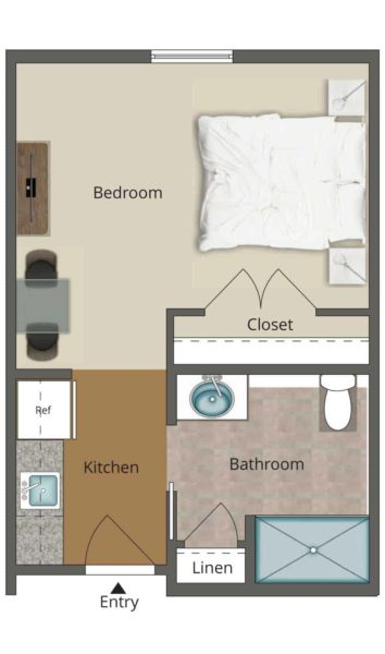 377 Square Foot Studio Assisted Living Unit With Kitchenette, Closet And Private Bathroom With Linen Closet And Shower.