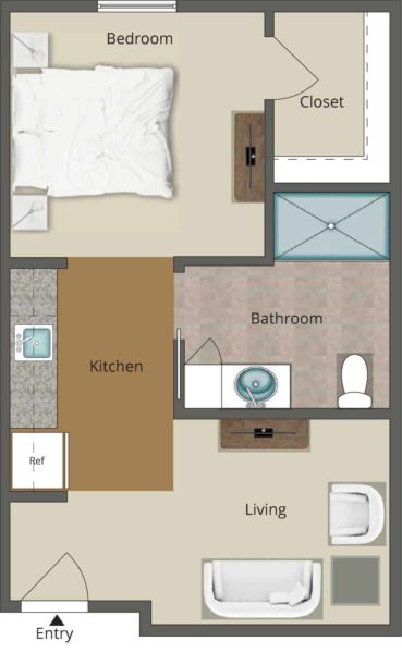 464 Square Foot One-bedroom Assisted Living Unit With Spacious Living Room, Kitchenette, Walk-in Closet And Private Bathroom With Linen Closet And Shower.