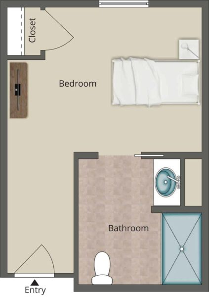 282 Square Foot Studio Memory Care Unit With Spacious Living Area, Closet And Private Bathroom And Shower.