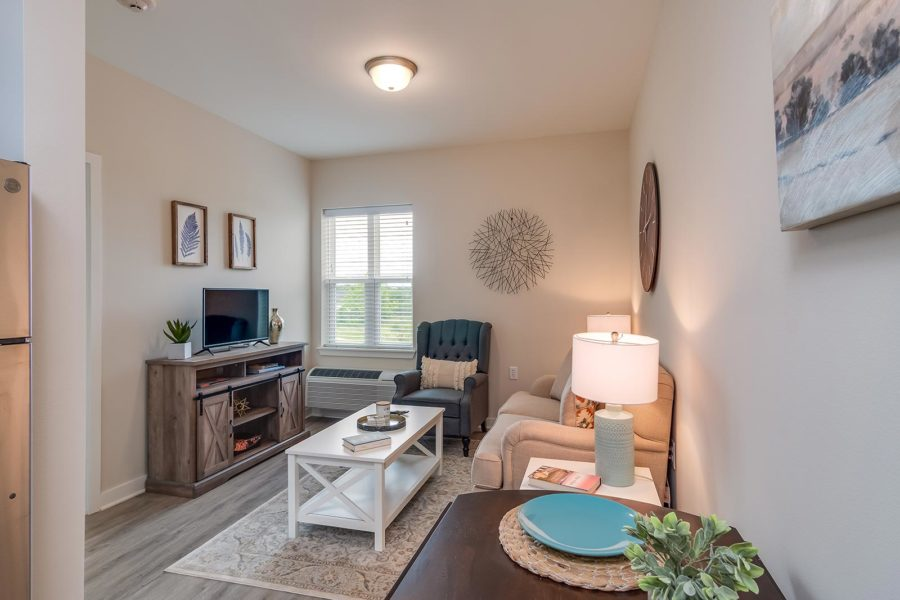 Spacious Living Room In Our Warner Robins GA Assisted Living And Memory Care Senior Apartments