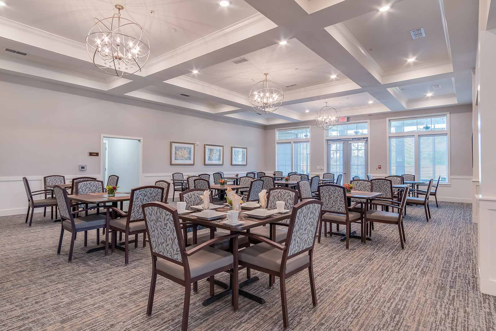 Elegant restaurant-style dining room in our Warner Robins GA assisted living and memory care community